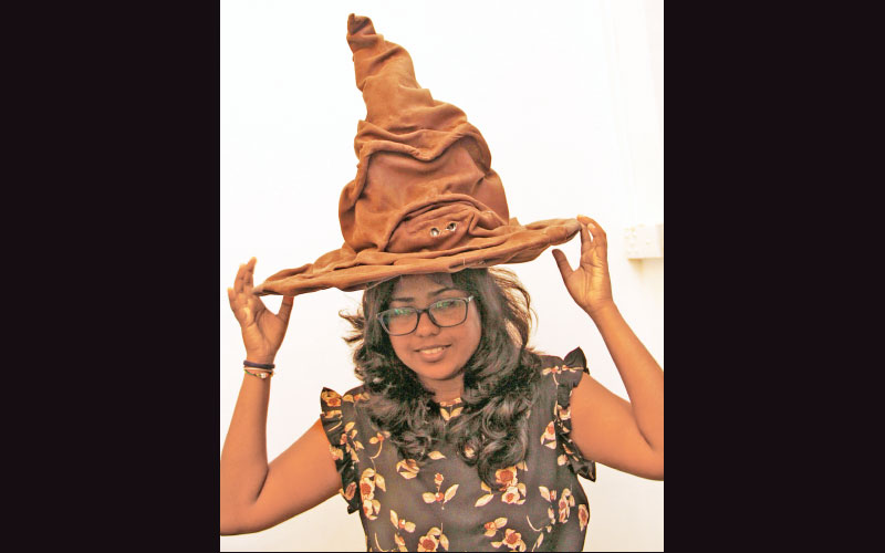 The recreation of the 'Sorting Hat' worn by Harry Potter in the popular film series