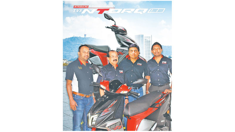 AGM, Two Wheeler Sales Geethal Anthony, S. V. Nana Rau Director, Ravi Liyanage  Chief Executive Officer and Ushan Wijewardena Head of Marketing and New Business of TVS Lanka.