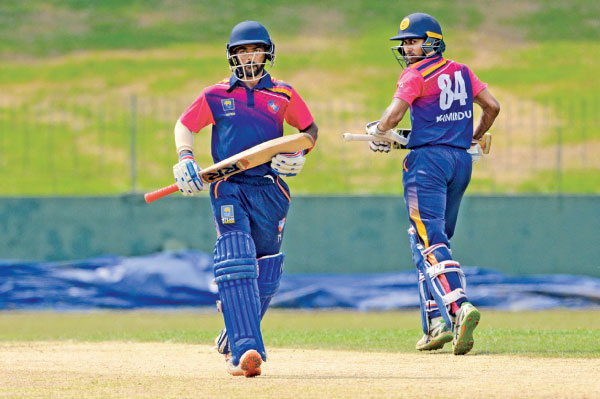 Chilaw Marians pair Sumith Ghadigaonkar and Kamindu Mendis batting during the SLC Invitatation L/O final against NCC at the SSC grounds.