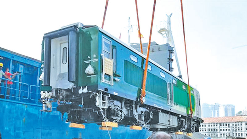 One of the Chinese power sets for the Aruwakkalu Sanitary Landfill Project being unloaded at the Colombo Port yesterday. Picture courtesy Sri Lanka Railway Forum
