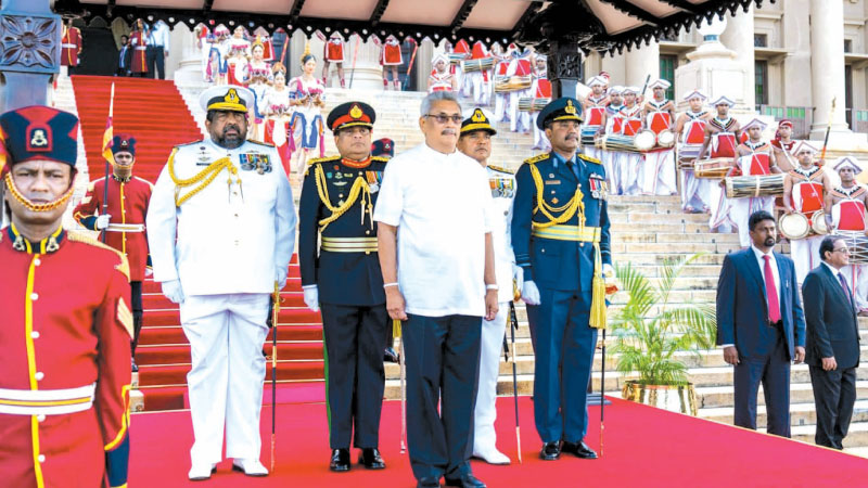 President Gotabaya Rajapaksa was accorded a guard of honour when he assumed duties at the Presidential Secretariat in Colombo Fort on November 18, 2019.