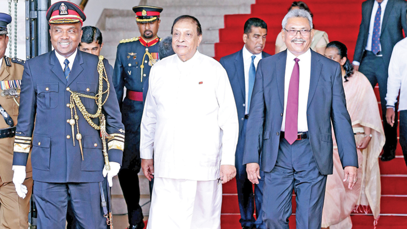 President Gotabaya Rajapaksa who arrived at the Parliament complex to inaugurate the Fourth Session of the Eighth Parliament with Speaker Karu Jayasuriya.