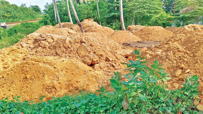 An excavated railway reservation land in Hathapalena in Ahangama. Picture by Mahinda P. Liyanage
