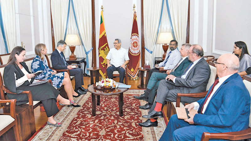 Ambassadors of several European countries based in Sri Lanka called on President Gotabaya Rajapaksa at the President's Office in Colombo on Monday. Ambassadors of France, Germany, Italy, The Netherlands, Romania and the Ambassador of the Delegation of the European Union were present. Picture courtesy President's Media Division