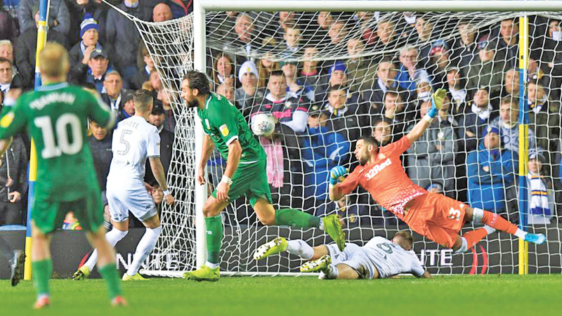 Atdhe Nuhiu scores in Sheffield Wednesday's win at Leeds United.