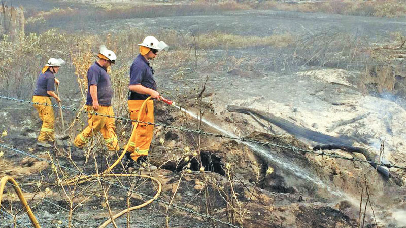 Firefighters douse the scorched earth after a bushfire at Carabost in New South Wales on Wednesday.
