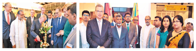 """OPENING:Germany's Federal Agriculture Minister and State Agriculture Minister Vidura  Wickramanayake and delegates after opening the Sri Lankan Pavilion at the world's  largest trade fair of Agriculture """"International Green Week""""."""