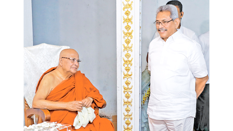 President Gotabaya Rajapaksa called on Most Ven. Aggamaha Panditha Kotugoda Dhammawasa Supreme Mahanayake Thera on Sunday.