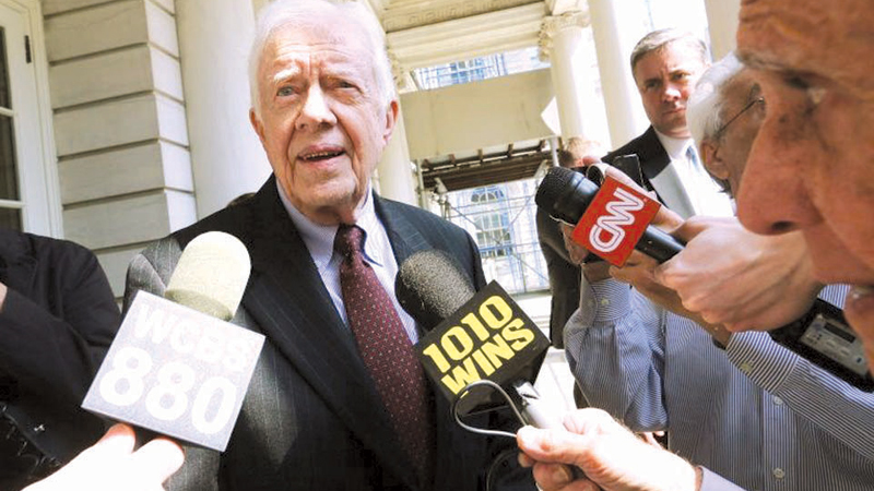 Former US President Jimmy Carter speaking to the press.
