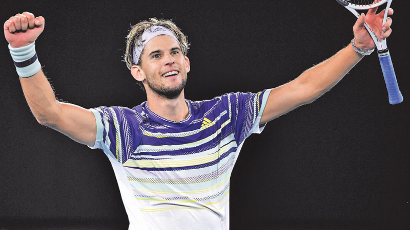 Austria's Dominic Thiem celebrates after victory against Germany's Alexander Zverev during their men's singles sem-final match in Melbourne on Friday. - AFP