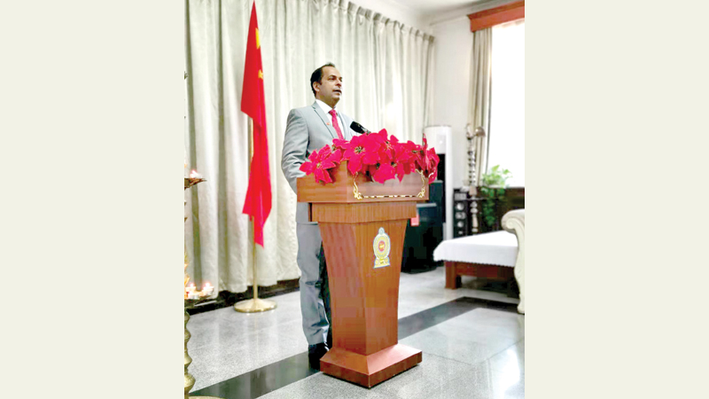 Sri Lanka Embassy in People's Republic of China Charge d' Affaires a. i. K. K. Yoganaadan addresses the participants.