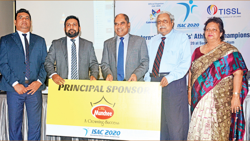 The General Manager-Marketing of Ceylon Biscuits Ltd Jannesh Paul Anthony (2nd from left) is handing over the sponsorship cheque to Dr. Harsha Alles, Chairman of ISAC 2020 Organizing Committee and Gateway College (3rd from left).. (From left) Marketing Manager of Ceylon Biscuits Ltd Romesh Jayathilake, Founder President – TISSL Dr. Frank Jayasinghe and Chairperson – TISSL Mrs. Kumari Hapugalle Perera are also in the picture. Picture by Ranjith Asanka