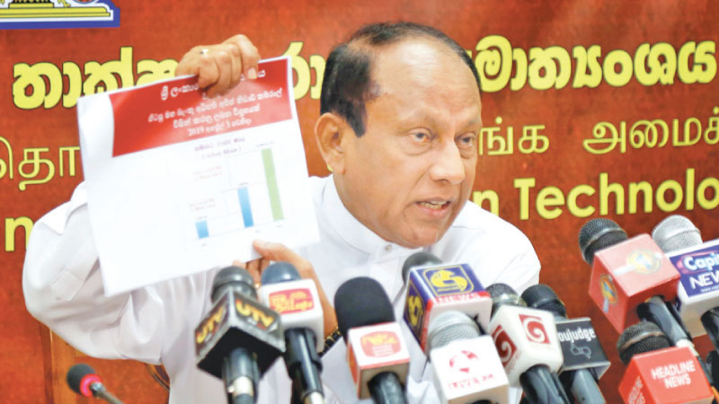 Minister Yapa in Colombo yesterday  Picture by Nirosh Batelpola
