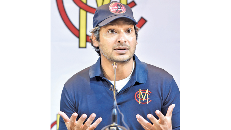 Former Sri Lankan cricketer and Marylebone Cricket Club (MCC) president Kumar Sangakkara speaks during a press conference in Lahore on Thursday, ahead of a four-match tour as part of efforts to revive international cricket in Pakistan. – AFP