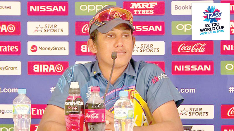 Sri Lanka Women's team captain Chamari Atapattu addresses the media at the post-match press conference after their World Cup T20 match against India.