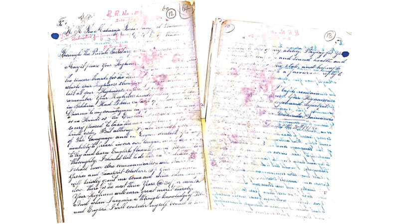Historical letter dated September 30, 1920 sent by Venerable S Mahinda Thera.