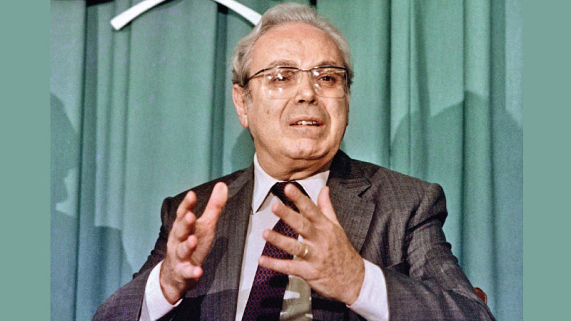 This file photo taken on July 18, 1988 shows the then UN Secretary General Javier Perez de Cuellar at a news conference at the UN headquarters in New York. - AFP