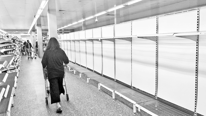 Shelves where disinfectant wipes, toilet tissues, bottled water, flu medicines are usually displayed are nearly empty at a  local store in Sydney, Australia. As fear of the Coronavirus spreads, people are buying above products in abundance.