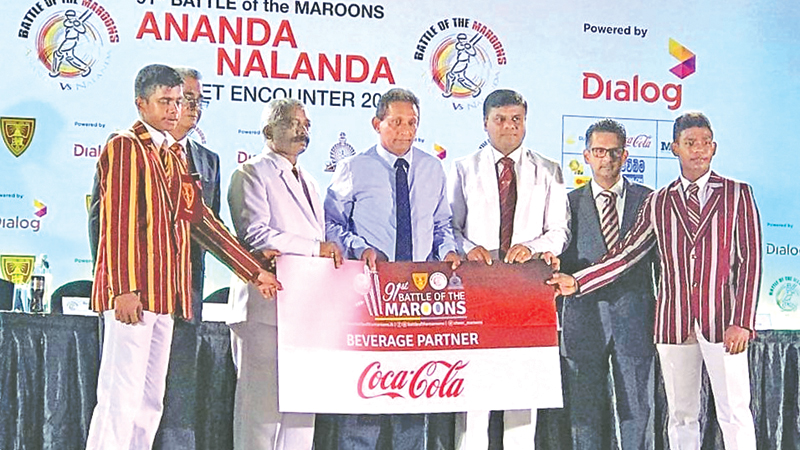 Coca-Cola hands over the sponsorship for the 91st Battle of the Maroons contest between Ananda and Nalanda to the respective team captains and school officials present on the occasion.