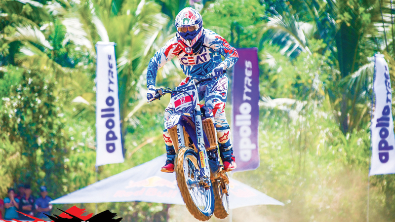 Evon Gurusinghe who won the Group M modified 250cc and Group R-MX 250cc events in action.
