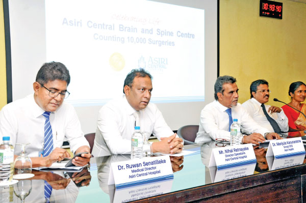 From left: Dr. Ruwan Senatilleke, Medical Director, Asiri Central Hospital, Nihal Ratnayake, Director Operations, Asiri Central Hospital, Dr. Manjula Karunaratne, Group Chief Executive Officer, Asiri Health, Dr. Sunil Perera, Senior Consultant Neurosurgeon, Asiri Brain and Spine Centre and Dr. Rohini Ranwala, Senior Consultant Anesthetist, Asiri Brain & Spine Centre
