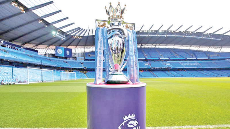 The Premier League trophy is displayed before the match