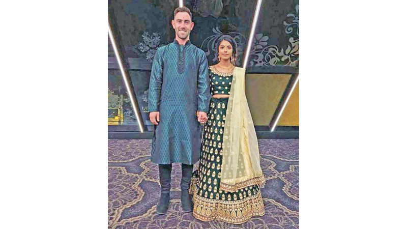 Glenn Maxwell sported a green sherwani for his engagement ceremony with Vini Raman.