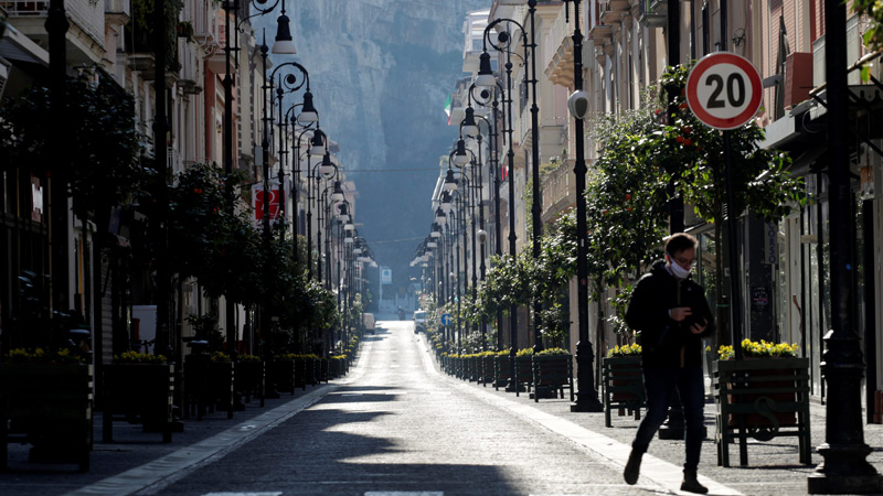 An empty street in Italy