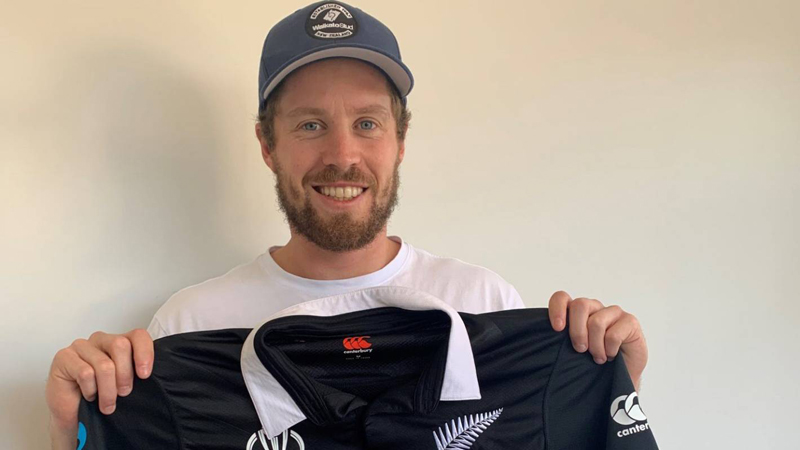 Henry Nicholls with his World Cup final shirt.
