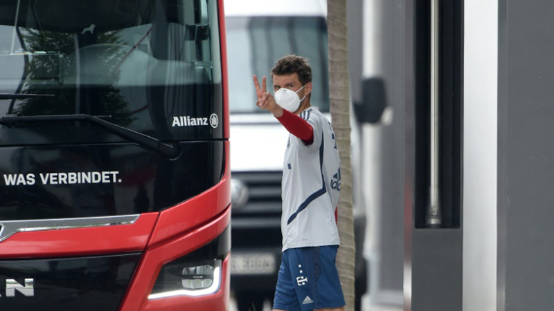 Bayern Munich forward Thomas Mueller pictured leaving a training session  ahead of the Bundesliga's return this weekend. - AFP