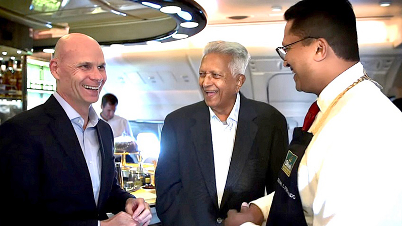Darren Bott, Emirates Vice President - Catering, Global Food & Beverage (left), Merrill J. Fernando (centre) and his son Dilhan Fernando, CEO of Dilmah Tea, during the tea master class aboard an Emirates A380.