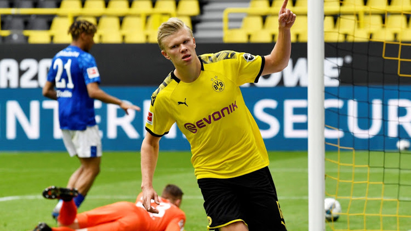 Borussia Dortmund's Erling Braut Haaland celebrates scoring his first goal against Schalke 04 in their Bundesliga clash at Signal Iduna Park, Dortmund, Germany on Saturday.