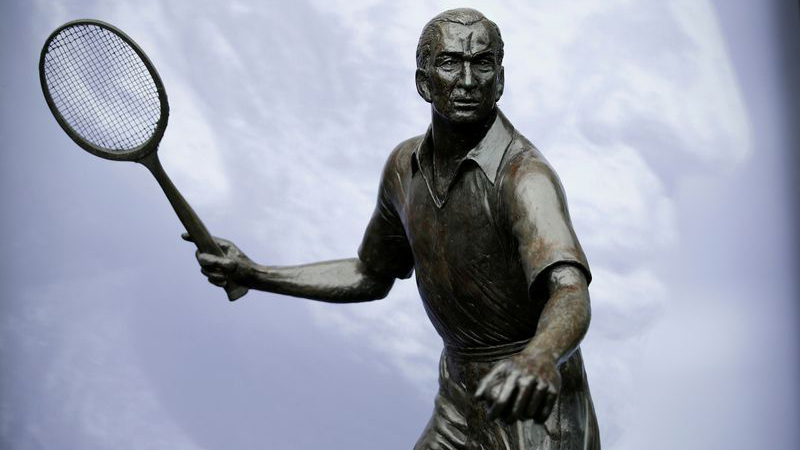 A statue of Fred Perry at Wimbledon before the start of play.