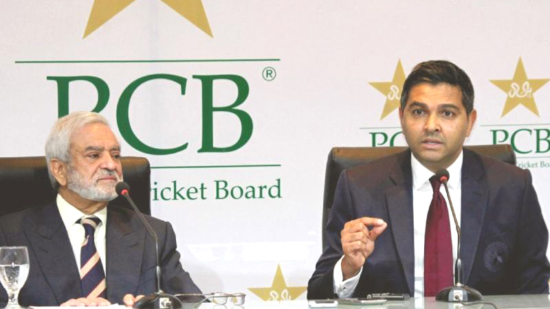 Pakistan Cricket Board's new managing director Wasim Khan, right, addresses a press conference with PCB chairman Ehsan Mani.