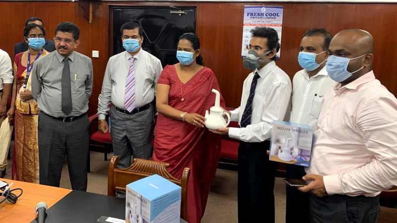 Handing over the steam inhaler to the Ministry of Health - Pavithra Wanniarachchi - Minister of Health, Nutrition and Indigenous Medicine Ministry of Health , Dr. Charith Nanayakkara - Lecturer of the Department of Surgery specializing in Neurosurgery at Teaching Hospital, Kotalawela Defense University Sri Lanka, Dr. Sajeeva Narangoda – Director/COO Millennium IT ESP and Group Vice President Ambeon Holdings, Channa Gunawardana - Chief Executive Officer, Dankotuwa Porcelain