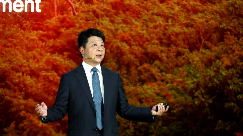 Huawei's Rotating Chairman Guo Ping delivers a keynote speech at the 17th annual Global Analyst Summit