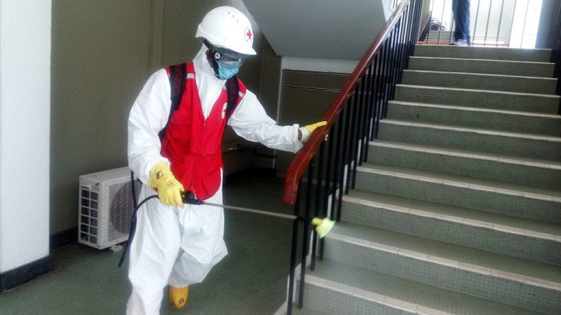 Sanitizing of BMICH premises by Sri Lanka Red Cross