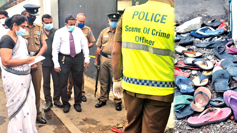 The Colombo Additional Magistrate at the scene. The slippers worn by the attendees.  Pictures by Ruzaik Farook.