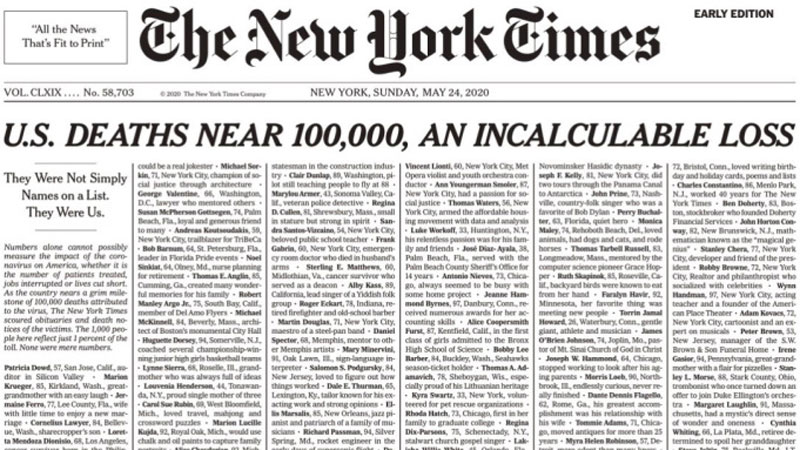 New York Times dedicates its front page to COVID-19 victims