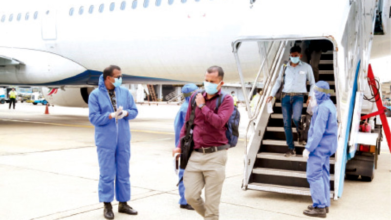 A special repatriation flight carrying 181 Sri Lankans stranded in Russia due to Covid-19 arrived at the BIA yesterday.  Picture shows the passengers disembarking from the flight. Picture by TKG Kapila,  Airport  Correspondent