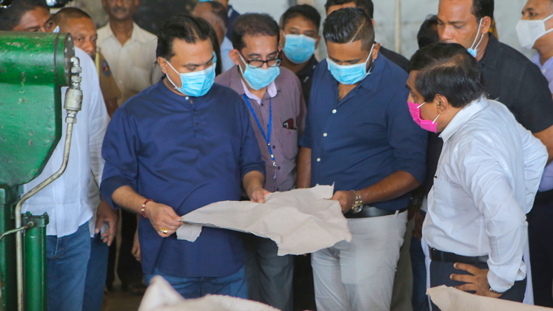 Minister Wimal Weerawansa observing the successful test run of Valaichchenai Paper Mill