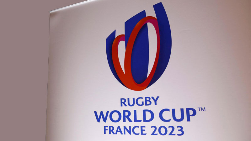 The 2023 Rugby World Cup logo is seen during a news conference in Paris, France, November 15, 2018.