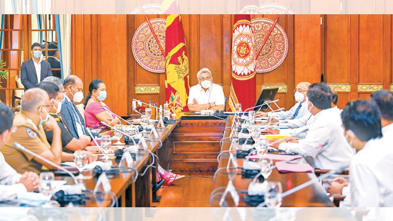 President Gotabaya Rajapaksa yesterday presided at a meeting to discuss health guidelines that should be followed in conducting all religious and cultural pageants. Picture courtesy President's Media Division