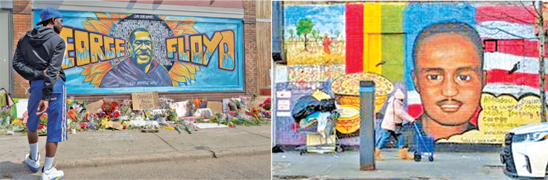 Wall art tributes to George Floyd and Amadou Diallo