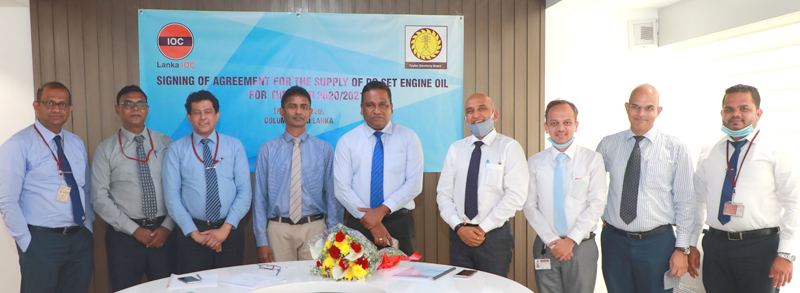 LIOC, Managing Director, Manoj Gupta (4th from Right) along with CEB, Chairman Vijitha Herath (5th from Right) and senior officials of CEB & LIOC during the agreement signing