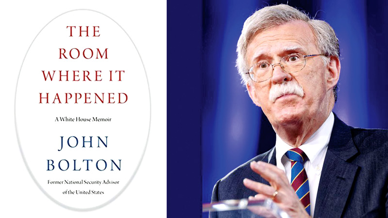 "John Bolton and the cover of his book ""The Room Where it Happened."""