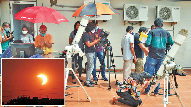 Solar eclipse viewing at the Arthur C.Clarke Centre in Moratuwa.