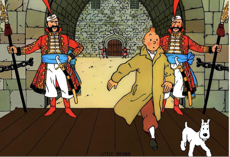 The cover of the Tintin book 'In King Ottakar's Sceptre'.