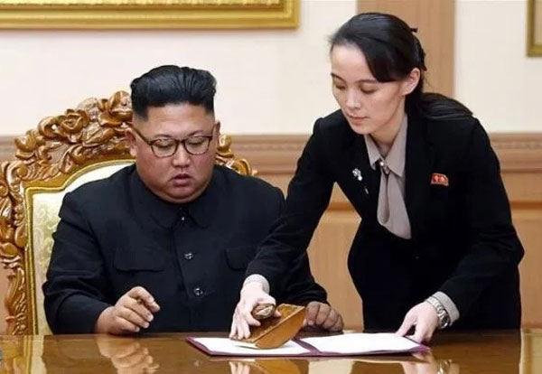 North Korean leader Kim Jong Un with his powerful sister Kim Yo Jong, who is his top official on inter-Korean affairs.