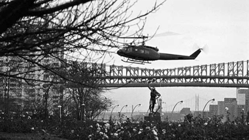 The Leader of the Palestine Liberation Organization (PLO), Yasser Arafat, arrived at UN Headquarters by helicopter. A view of the helicopter as it approached the North Lawn of the UN campus on November 13, 1974